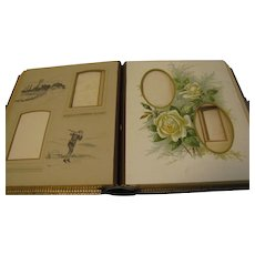 Leather Bound Victorian Photograph Album, Colored Florals and Drawings