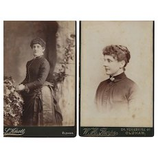 Pair of Cabinet Photographs of Young Woman, Great Victorian Dress