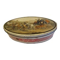 Vintage British Biscuit Tin, Peek Frean Christmas Joybells Tin, Horse and Carriage Scene