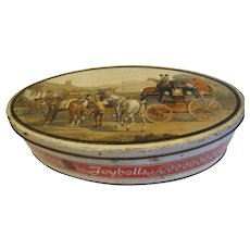 Vintage British Biscuit Tin, Peek Frean Christmas Joybells Tin, Horse and Carriage Scene