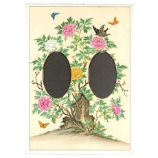 Lovely Colorful Page From Victorian Photo Album, Flowers and Butterflies