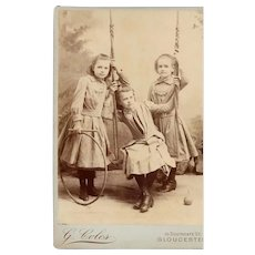 Cabinet Photograph Card of 3 Girls (sisters) Posed as Playing