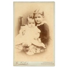 Cabinet Card Photograph of Young Boy and Baby, G. Coles