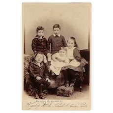 Cabinet Photograph Card of Five Children, Heslop Woods
