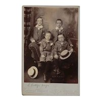 Cabinet Photograph Card of 4 Boys, L. Luttys boys, Everard Cuzner