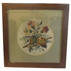 Lovely Victorian Beaded Piece, Matted and Framed under Glass