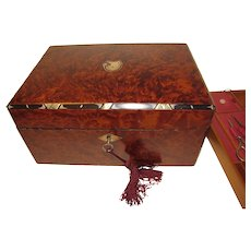 Early 19th Century Amboyna Burl Fully Fitted Sewing Box