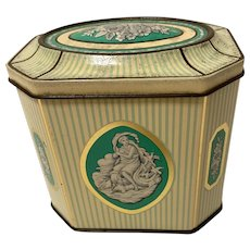 Lovely Cadbury Chocolate Tin, Teal Green Stripes and Classical Figures