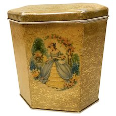 Vintage British Biscuit Tin, Lady in the Garden