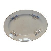 Large Oval Bluebird Platter, K T & K, Bluebirds in Apple Blossoms