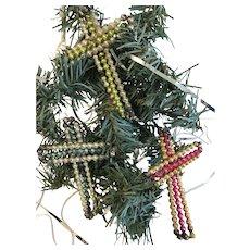Group of 3 Vintage Christmas Decorations, Czechoslovakian Beaded Crosses