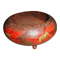 Excellent Small Pyrography Bowl with Painted Poinsettias