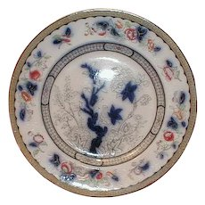 Lovely Early Flow Blue Polychrome Plate, VESPER, Ridgway