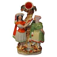 Colorful Victorian Flat-back Group Figure, Rebekah & Abraham's Servant