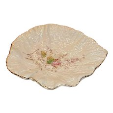 Lovely White Majolica Begonia Leaf Dish or Tray, Enamel Flowers