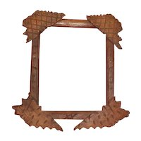 Unusual Folk (Tramp) Art Frame, Criss-Cross