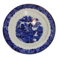 "English Blue Willow 7"" Plate w/ Butterfly Border, Unmarked"