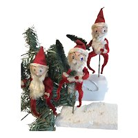 Group of 3 Vintage Santa Claus Christmas Ornaments