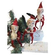 Group of 3 Vintage Santa Claus Christmas Ornaments