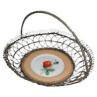 Wonderful Wireware Basket with Porcelain Plate Insert