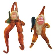 Pair of Vintage Clay-Faced Chenille Santa Claus Ornaments