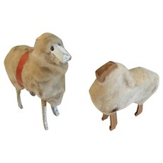 Vintage Christmas Decoration, Pair of Stick-Leg Woolly Sheep