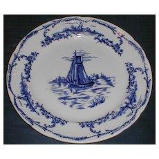 """Pair of Delph Plates, 10 1/2"""", Sail Boats, English, CA 1890"""