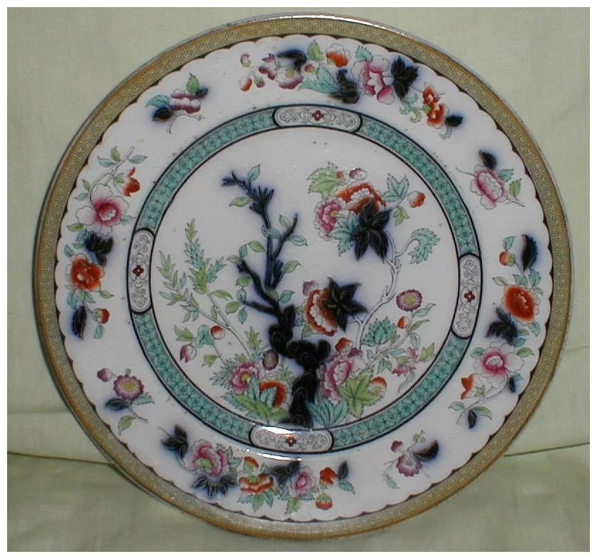 Lovely early oriental design plate english flow blue