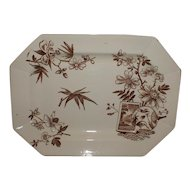 Lovely Aesthetic Brown Transferware Platter, KENILWORTH