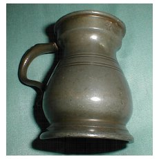 Small 19th C. Pewter Bulbous Pewter Measure, Touch Marks