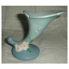 "Lovely Blue Roseville Pottery Vase, Cornucopia, WHITE ROSE, 143-6"", 1940"