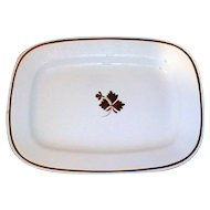 Very Large 19th C. White Ironstone Platter, Tea Leaf, Wilkinson