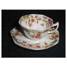 Noritake Noritake Kent 4 Tea Cups & 6 Saucers Silver Pink Flower Green Leaves Lustrous Pottery & China