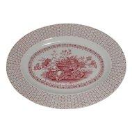 Lovely Red Transferware Oval Platter BEVERLEY Empire England