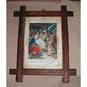 Chip Carved Tramp Art Frame, German Religious Print