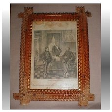 Antique Tramp Art Frame, German Print