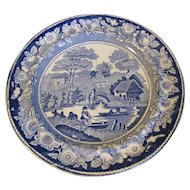 Antique Wild Rose Blue Transferware Dinner Plate, Edge, Malkin