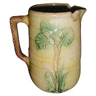 Antique Majolica Pitcher, Palm Tree, Damaged