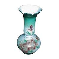 Lovely Painted Blue Bristol Glass Vase