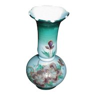Lovely Painted Blue Bristol Glass Vase