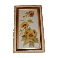 Lovely Vintage Painting on Milk Glass, SUN FLOWERS, Framed