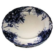 Lovely Gilded Flow Blue Plates (4), ORCHID, GTM, 1888-98