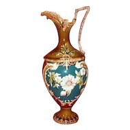 Large Antique French Majolica Ewer or Vase, Stunning