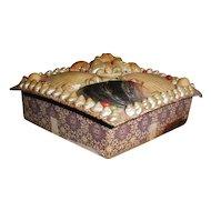 Lovely Victorian Sea Shell Box, Diamond Shape