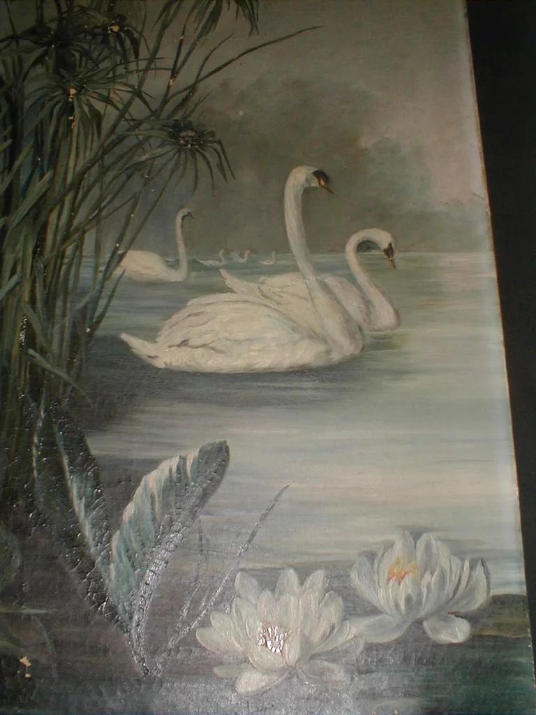 19th Century Oil Painting On Canvas Swans Amp Water Lilies