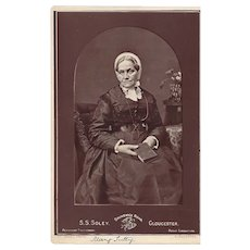 Cabinet Card Photograph of an Elderly Lady, Mary Tulty, Holding Book