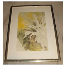 1970 Watercolor Painting, Abstract Airplane Plant, Judith McAllister