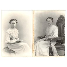 Pair of Cabinet Card Photographs, Woman Reading Book December 1911