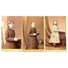 Group of 3 Carte-de-Visite (CDV) Photo Cards, Female Same Family