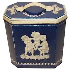 Vintage British Biscuit Tin Huntley & Palmers Wedgwood Jasperware